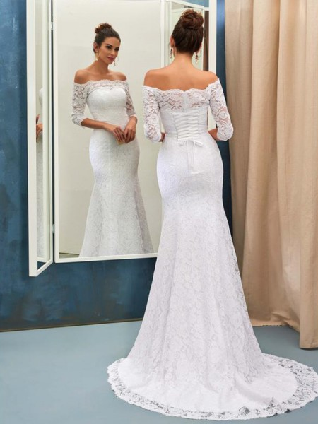 Trumpet/Mermaid Sweep/Brush Train Lace Off-the-Shoulder 1/2 Sleeves Lace Wedding Dresses