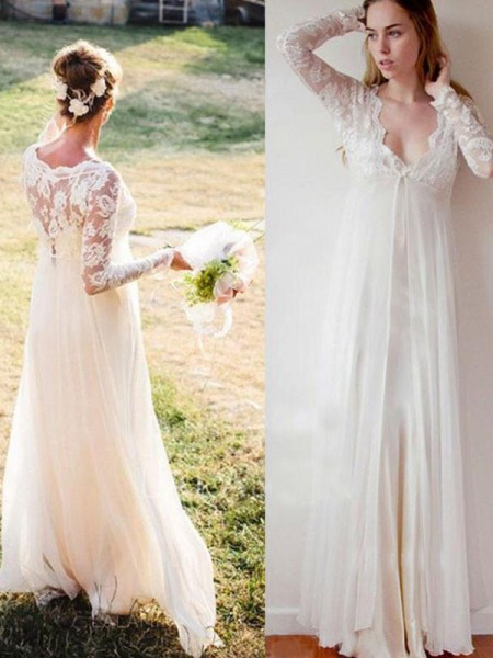 Empire Floor-Length Lace V-neck Long Sleeves Chiffon Wedding Dresses