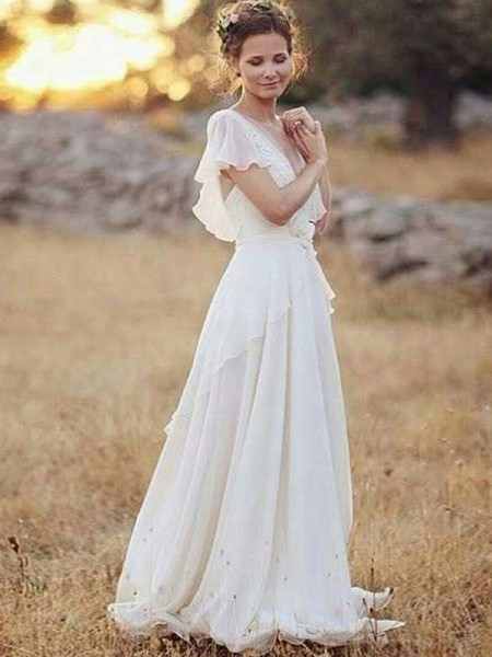 A-Line/Princess Floor-Length Ruched V-neck Short Sleeves Chiffon Wedding Dresses