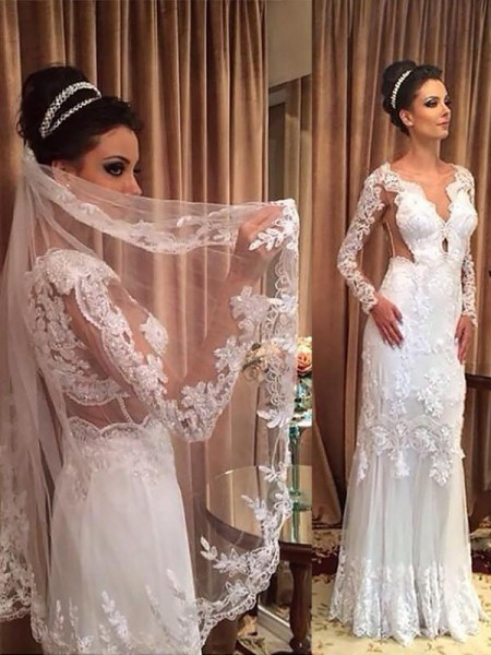 Sheath/Column Sweep/Brush Train Applique V-neck Long Sleeves Tulle Wedding Dresses