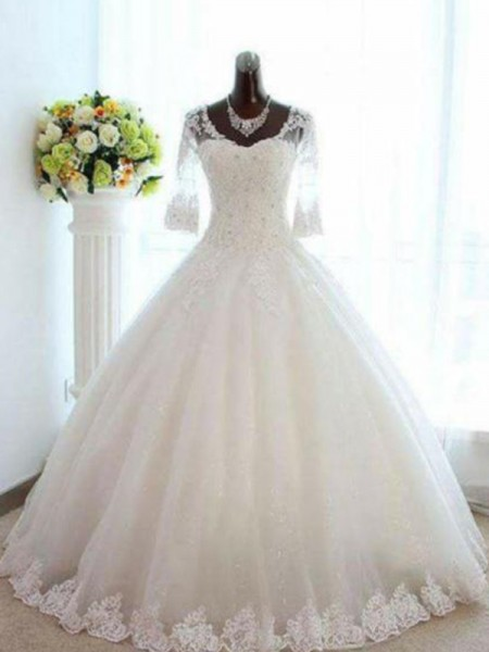 Ball Gown Floor-Length Beading Bateau 3/4 Sleeves Tulle Wedding Dresses