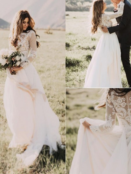 A-Line/Princess Sweep/Brush Train Applique V-neck Long Sleeves Chiffon Wedding Dresses