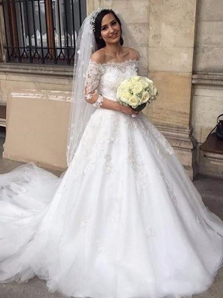 Ball Gown Chapel Train Applique Off-the-Shoulder 3/4 Sleeves Tulle Wedding Dresses