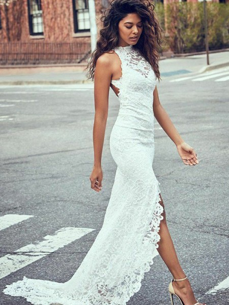 Trumpet/Mermaid Sweep/Brush Train Lace Halter Sleeveless Lace Wedding Dresses