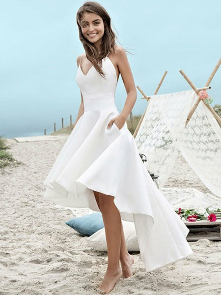 A-Line/Princess Asymmetrical Ruched Spaghetti Straps Sleeveless Satin Wedding Dresses