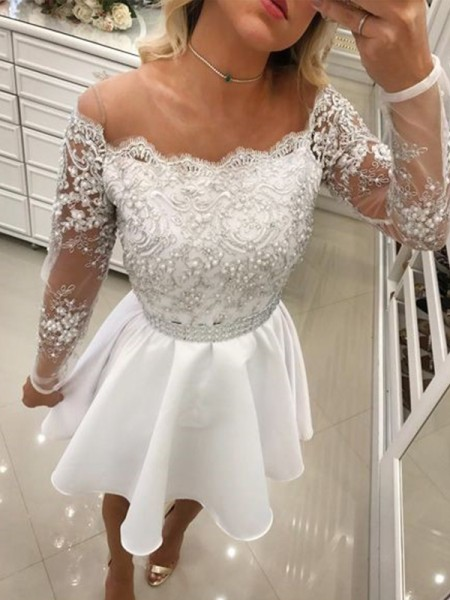 A-Line/Princess Beading Short/Mini Off-the-Shoulder Long Sleeves Chiffon Dresses