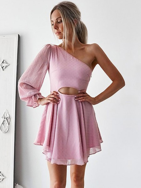 A-Line/Princess Ruffles Short/Mini One-Shoulder Long Sleeves Chiffon Dresses
