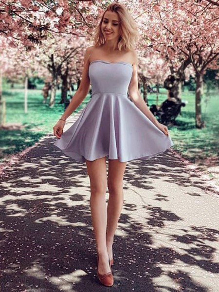 A-Line/Princess Ruffles Short/Mini Strapless Sleeveless Satin Dresses