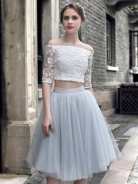 A-Line/Princess Ruched Knee-Length Off-the-Shoulder 1/2 Sleeves Tulle Two Piece Dresses