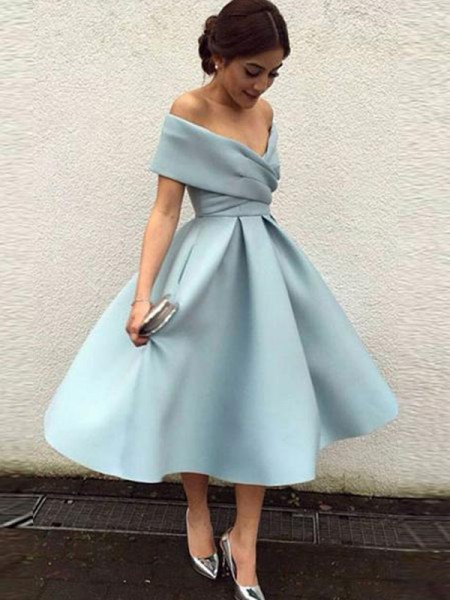 A-Line/Princess Ruffles Tea-Length Off-the-Shoulder Sleeveless Satin Dresses