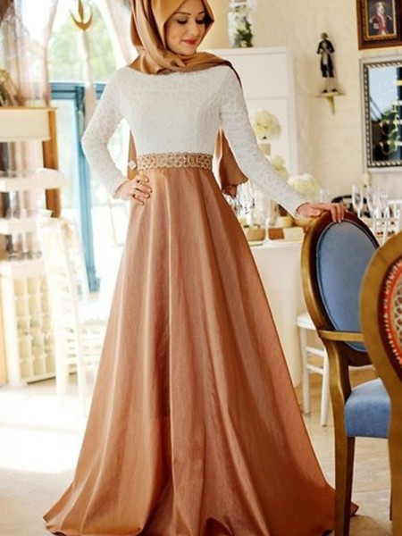 A-Line/Princess Lace Sweep/Brush Train Scoop Long Sleeves Satin Muslim Dresses