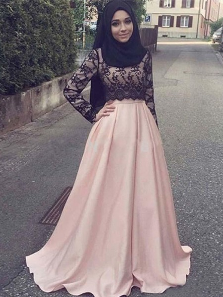 A-Line/Princess Applique Sweep/Brush Train Scoop Long Sleeves Satin Muslim Dresses