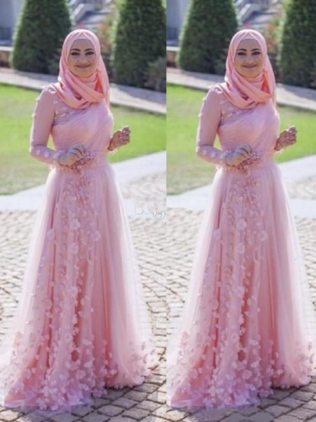 A-Line/Princess Applique Sweep/Brush Train Scoop Long Sleeves Tulle Muslim Dresses