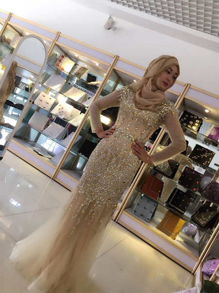 Sheath/Column Sequin Floor-Length Scoop Long Sleeves Tulle Muslim Dresses