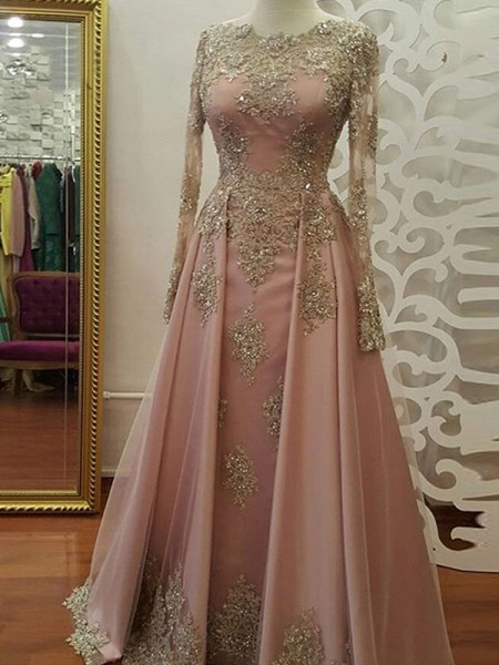 A-Line/Princess Applique Floor-Length Scoop Long Sleeves Tulle Muslim Dresses