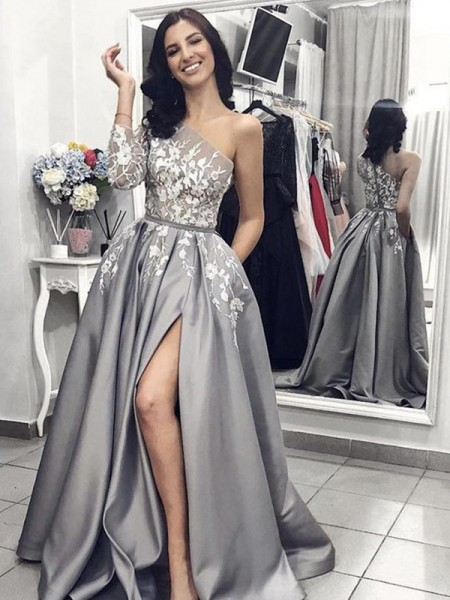 A-Line/Princess Applique Sweep/Brush Train One-Shoulder Sleeveless Satin Dresses