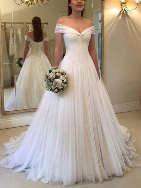A-Line/Princess Ruched Sweep/Brush Train Off-the-Shoulder Sleeveless Tulle Wedding Dresses