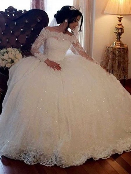 Ball Gown Lace Floor-Length Bateau Long Sleeves Tulle Wedding Dresses
