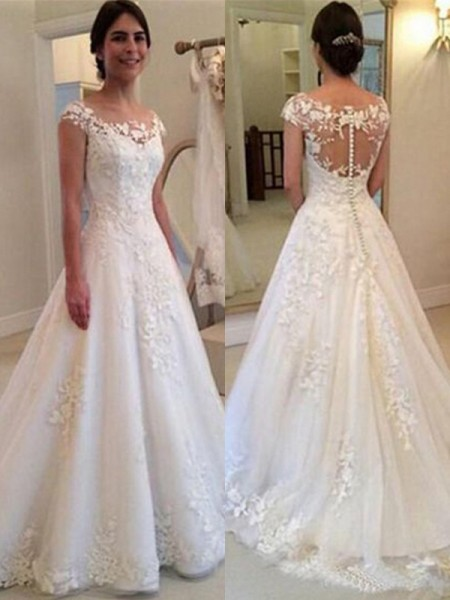 A-Line/Princess Lace Sweep/Brush Train Scoop Sleeveless Tulle Wedding Dresses