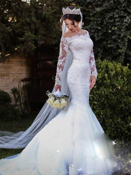Trumpet/Mermaid Lace Sweep/Brush Train Off-the-Shoulder Long Sleeves Tulle Wedding Dresses
