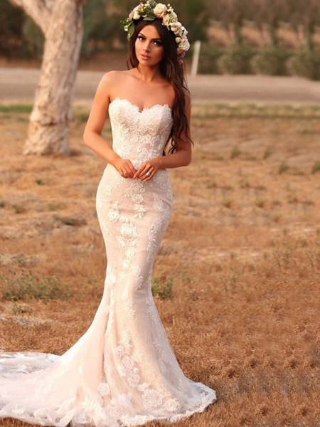 Trumpet/Mermaid Applique Sweep/Brush Train Sweetheart Sleeveless Lace Wedding Dresses
