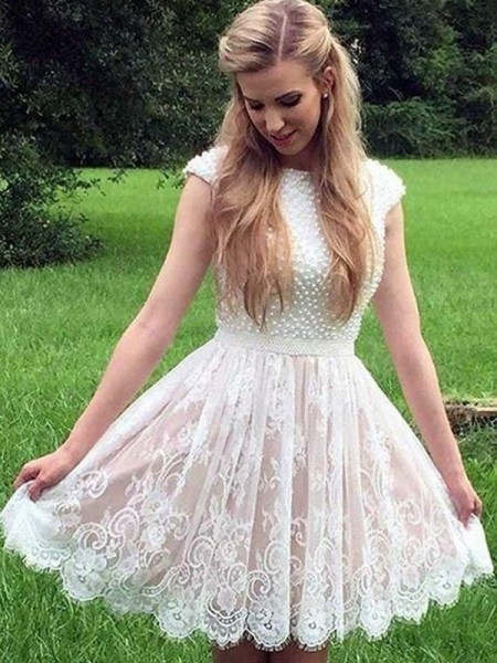 A-Line/Princess Pearls Short/Mini Sheer Neck Sleeveless Lace Dresses