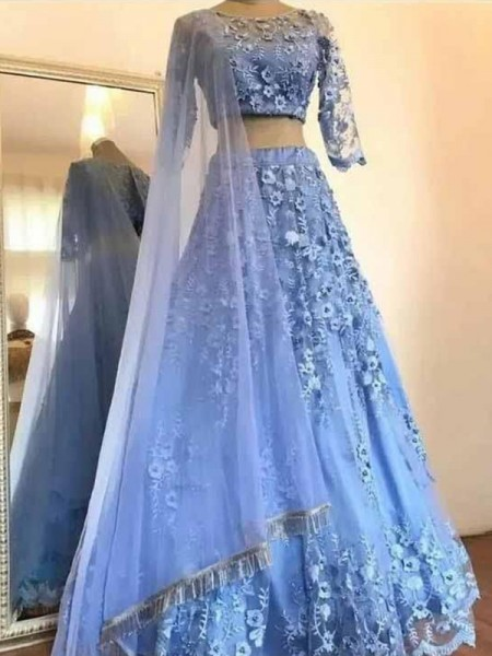 A-Line/Princess Scoop 3/4 Sleeves Applique Tulle Floor-Length Dresses