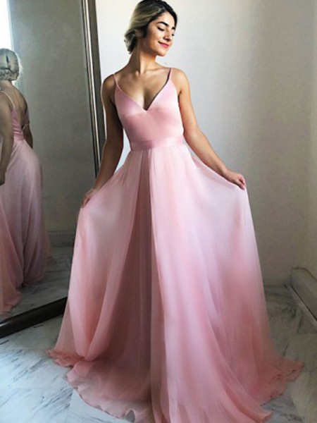 A-Line/Princess Spaghetti Straps Sleeveless Ruffles Chiffon Sweep/Brush Train Dresses