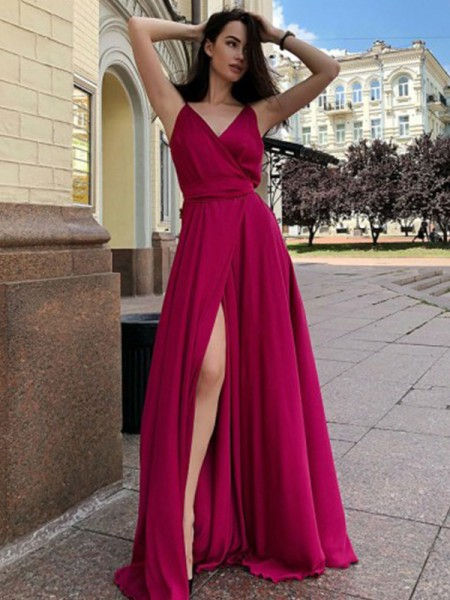 A-Line/Princess Spaghetti Straps Sleeveless Ruffles Satin Chiffon Sweep/Brush Train Dresses