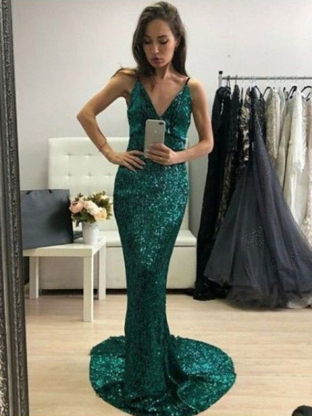 Trumpet/Mermaid Sequins Ruffles Sweep/Brush Train Sleeveless V-neck Dresses