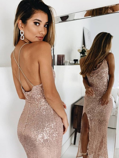 Trumpet/Mermaid Sleeveless Ankle-Length Ruched Spaghetti Straps Sequins Dresses