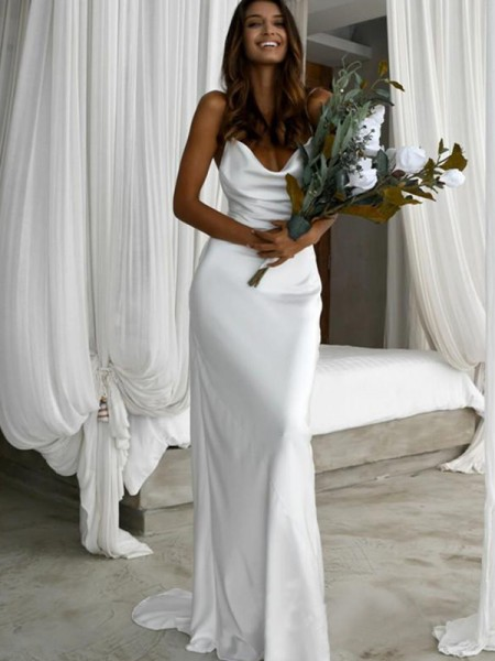 Sheath/Column Ruched Spaghetti Sleeveless Silk Like Satin Sweep/Brush Train Straps Wedding Dresses