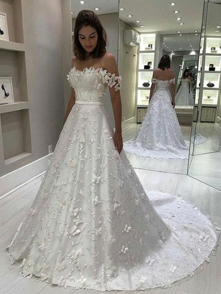 A-Line/Princess Sweep/Brush Train Satin Sleeveless Applique Off-the-Shoulder Wedding Dresses