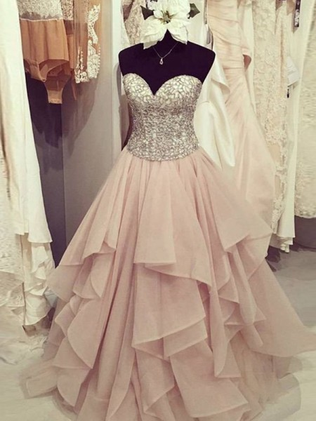 Ball Gown Sweetheart Floor-Length Chiffon Dress