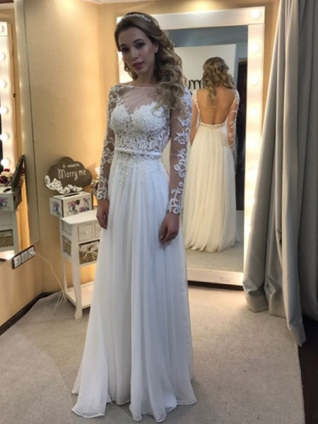 A-Line/Princess Bateau Floor-Length Long Sleeves Lace Chiffon Wedding Dress