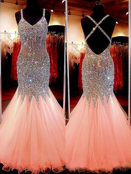 Trumpet/Mermaid V-neck Floor-Length Tulle Sleeveless Sequin Dresses