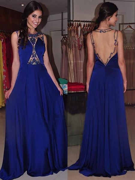 A-Line/Princess Bateau Sweep/Brush Train Beading Chiffon Dress