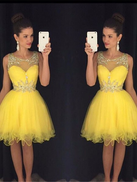 A-line/Princess Tulle Scoop Sleeveless Short/Mini Beading Dresses