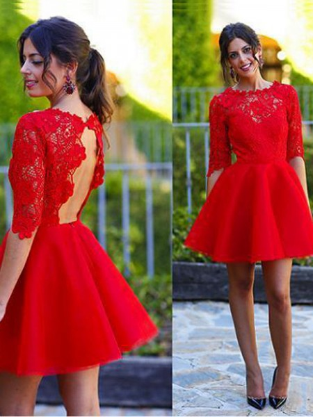 A-line/Princess Lace Scoop 1/2 Sleeves Short/Mini Lace Dresses