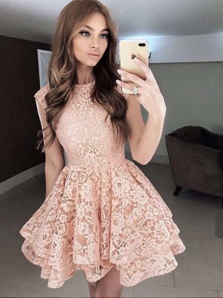A-line/Princess Lace Scoop Sleeveless Short/Mini Dresses