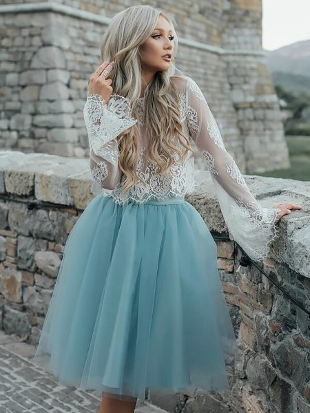 A-line/Princess Tulle Scoop Long Sleeves Short/Mini Dresses