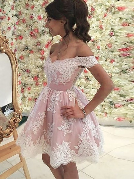 A-line/Princess Tulle Off-the-Shoulder Sleeveless Short/Mini Applique Dresses