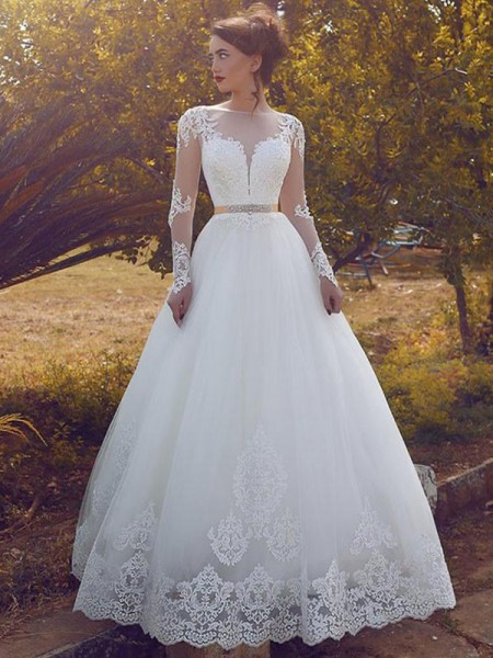 Ball Gown Tulle Bateau Long Sleeves Floor-Length Wedding Dresses