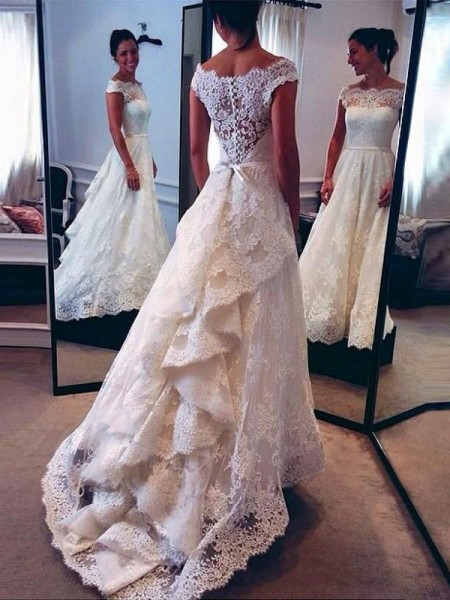 A-Line/Princess Lace Scoop Sleeveless Court Train Wedding Dresses