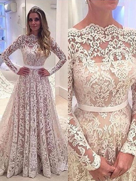 A-Line/Princess Lace Bateau Long Sleeves Court Train Wedding Dresses