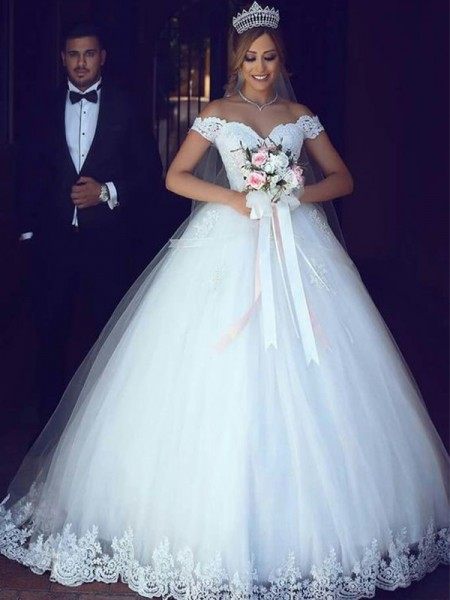 Ball Gown Off-the-Shoulder Lace Floor-Length Sleeveless Tulle Wedding Dresses