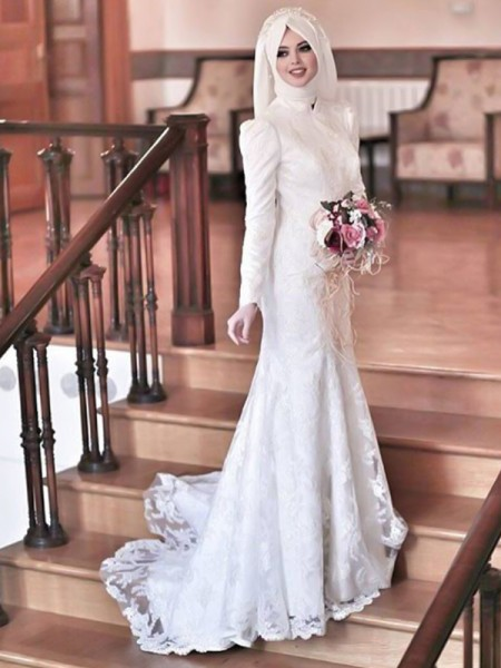 Trumpet/Mermaid High Neck Lace Sweep/Brush Train Long Sleeves Tulle Wedding Dresses