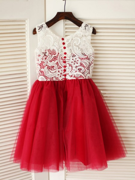 A-Line/Princess Tulle Scoop Sleeveless Lace Knee-Length Flower Girl Dresses