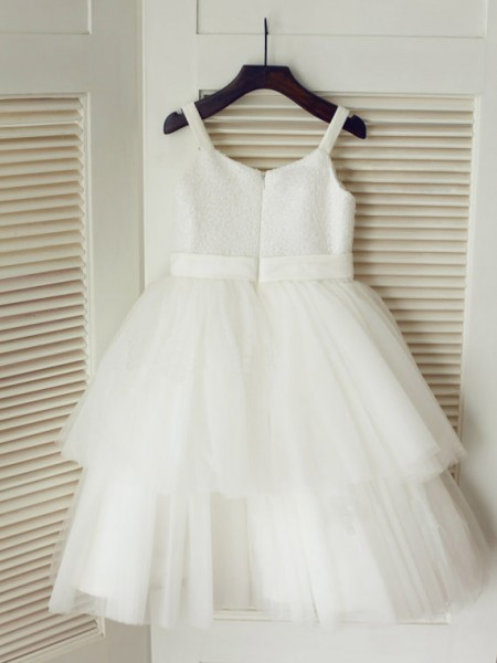 A-Line/Princess Tulle Spaghetti Straps Sleeveless Hand-Made Flower Tea-Length Flower Girl Dresses