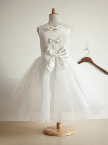 Ball Gown Tulle Jewel Sleeveless Bowknot Tea-Length Flower Girl Dresses